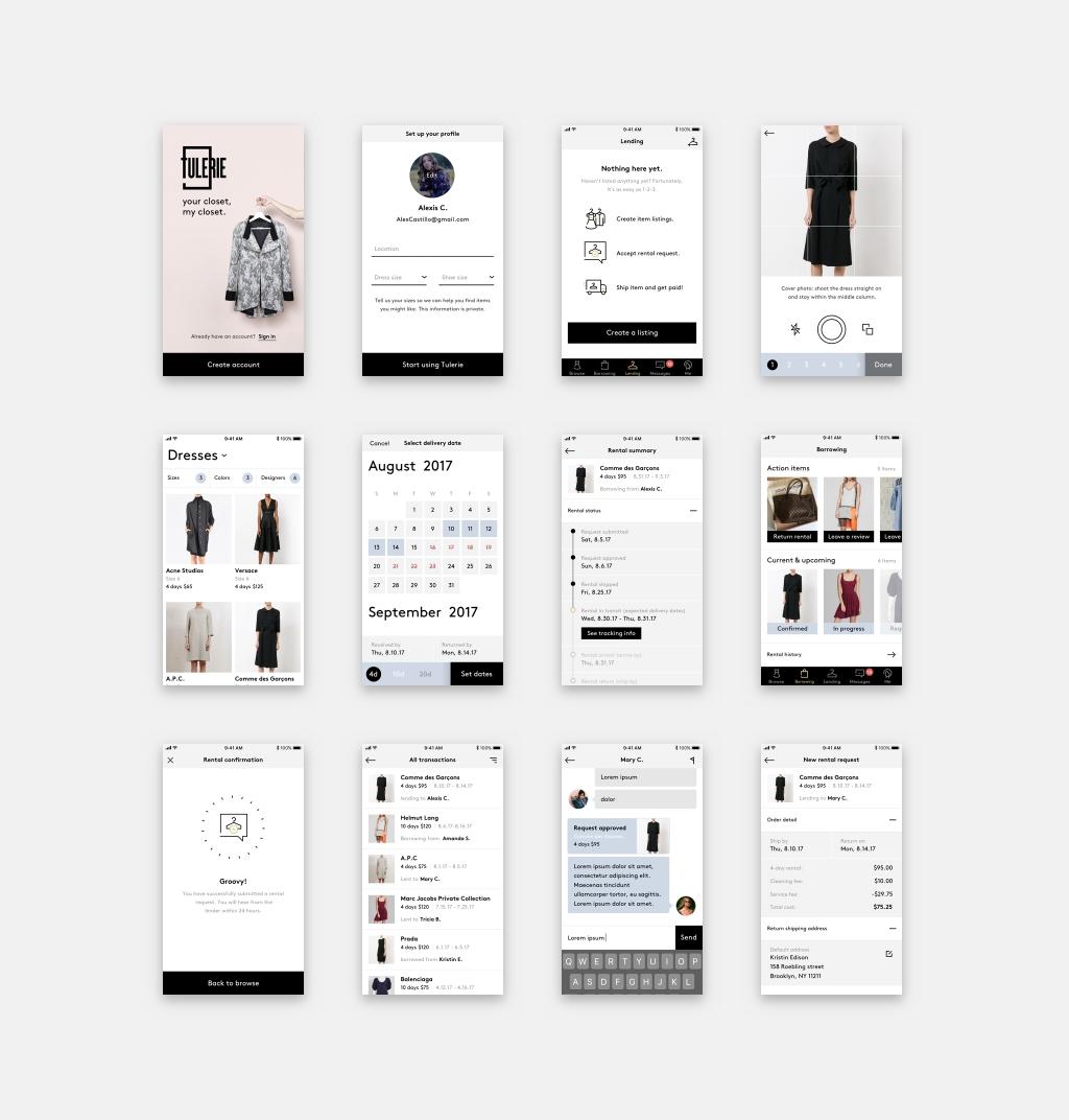 Tulerie App Screens